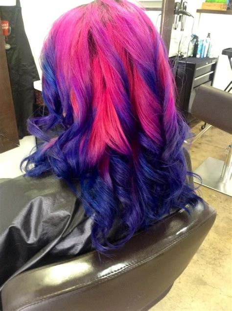 Pink And Navy Blue Ombre Dip Dyed Hair Dip Dye Pinterest