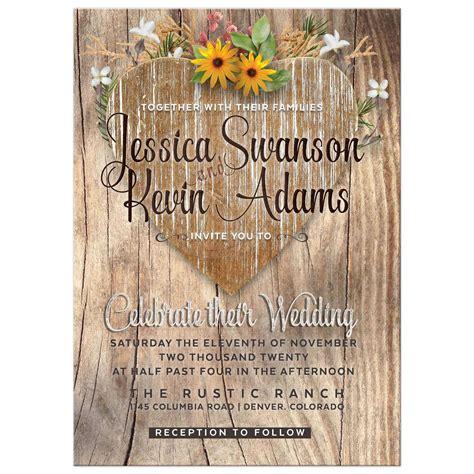 Love Heart Wildflowers Rustic Wedding Invitation