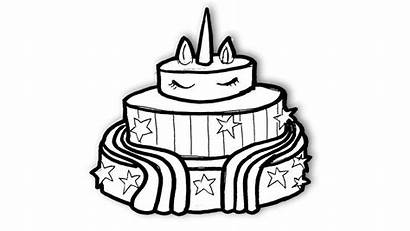Unicorn Coloring Cake Pages Colouring Printable Drawing