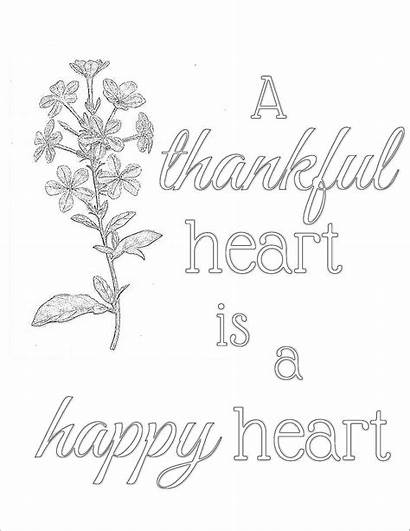Wise Words Coloring Printable Thankful Heart Inbox