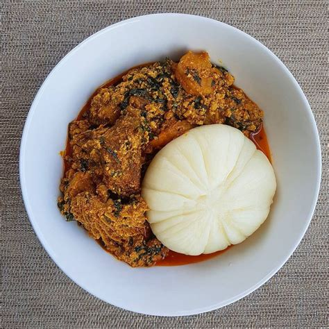 lunch time pounded yam egusi soup whos hungry check
