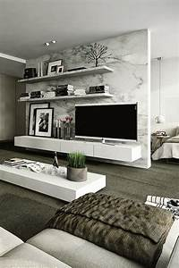 How to use modern tv wall units in living room wall decor for Modern living room tv wall