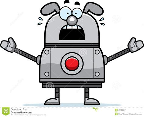 Scared Robot Dog Stock Vector