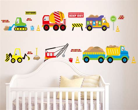 Truck Wallpaper Childrens Decor by Transport Cars Truck Digger Boys Educational Wall Stickers
