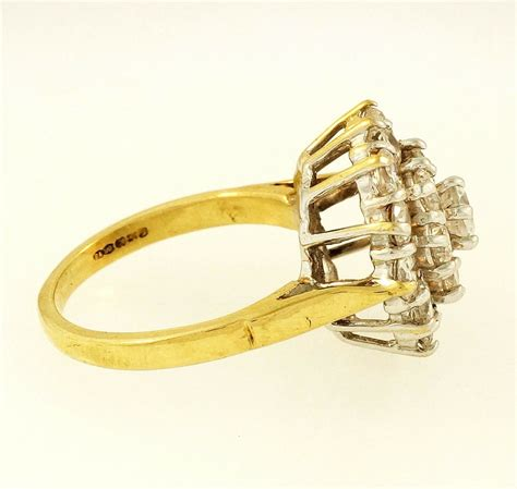 Ring Size L 9ct yellow gold simulated cluster ring size l