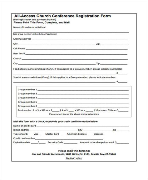 conference registration forms   excel ms