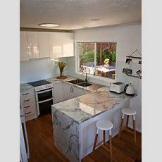 Small U Shape Compact Kitchen, Carrara Marble Benchtop