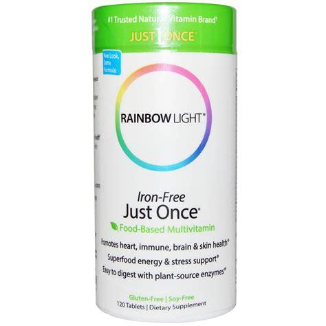 rainbow light multivitamin rainbow light just once iron free food based