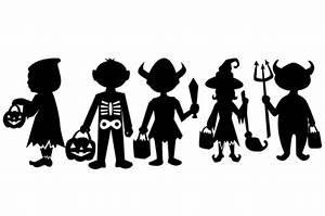 Children trick or treating silhouettes design set SVG Cut ...
