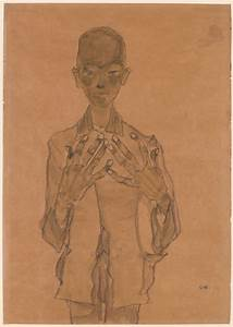 egon schiele standing boy with on chest drawings