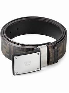 Fendi Logo Plaque Buckle Belt in Brown for Men | Lyst