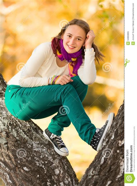 Beautiful Teen Girl Having Fun Outdoors Royalty Free Stock