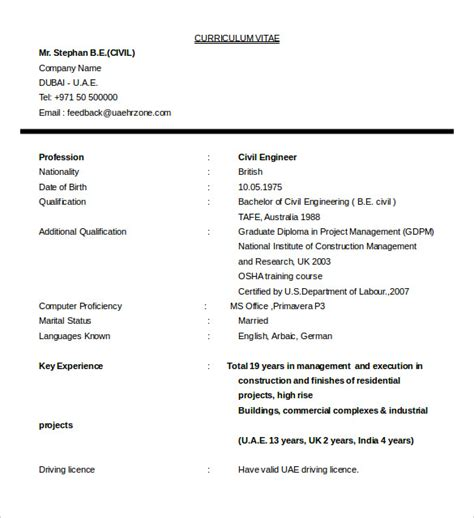Civil Construction Resume by 16 Civil Engineer Resume Templates Free Sles Psd Exle Format Free