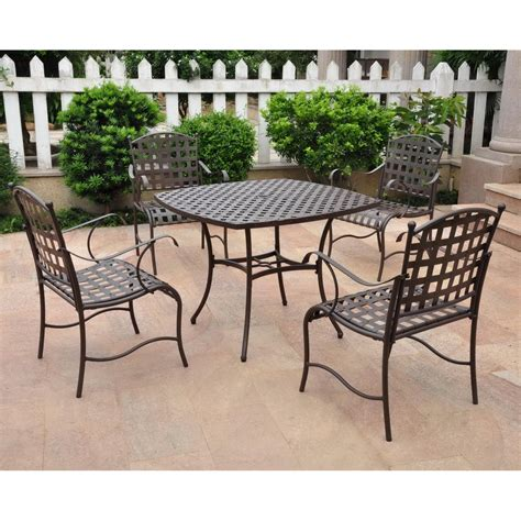 6 Person Wrought Iron Patio Set by International Caravan Santa Fe 4 Person Wrought Iron Patio
