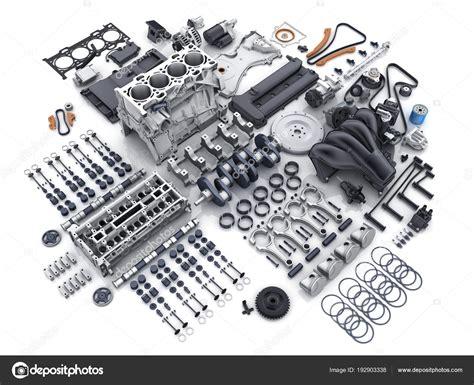 Motor Do Carro Desmontado. Muitas Partes