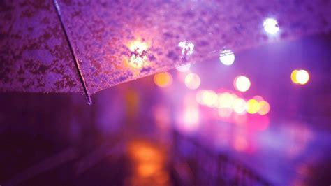 umbrella lights street light city lights rain bokeh