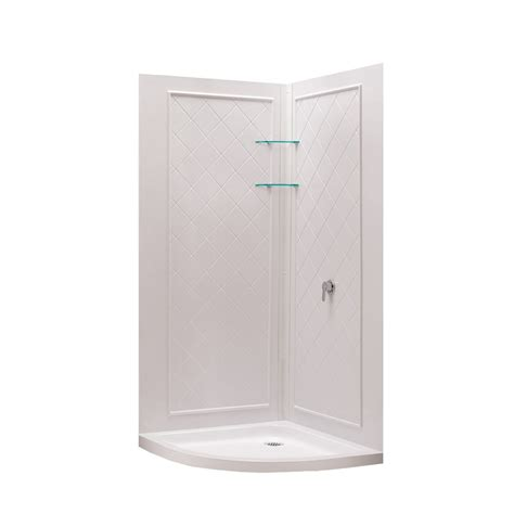 3 Shower Kit by Shop Dreamline Shower Base And Wall White Acrylic 3