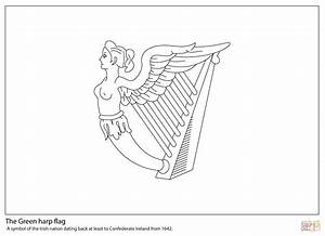 Green Harp Flag Of Ireland Coloring Page Free Printable