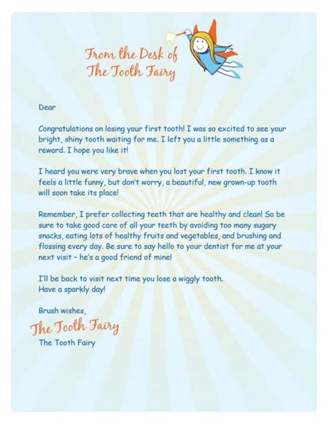 tooth fairy certificates letter templates printable