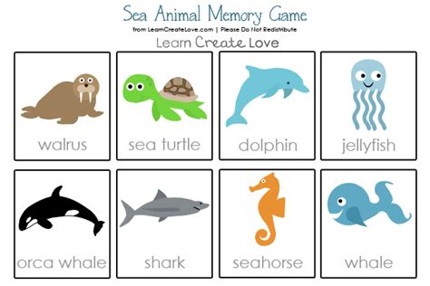 sea animals printable memory 542 | samemory