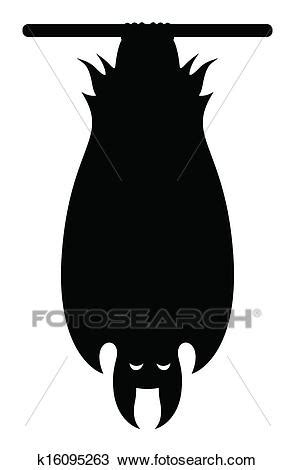 Clipart Of Vampire Bat Hanging Silhouette K16095263