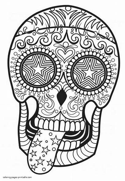 Coloring Skull Pages Adult Adults Printable Skulls