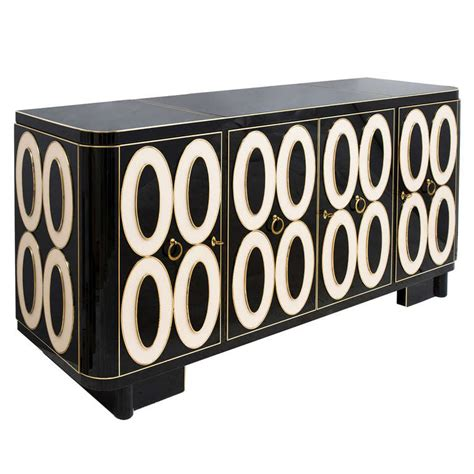 Black And White Sideboard by Striking Murano Black And White Glass Sideboard Circa 1970