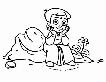 Bheem Coloring Chota Sitting Rock Netart