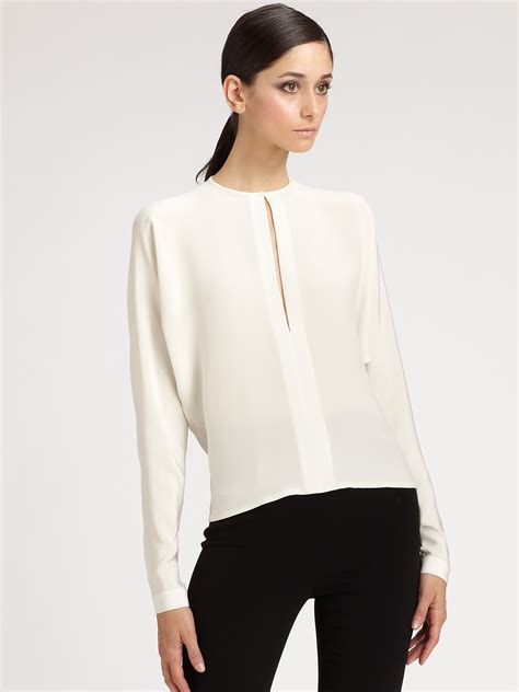 silk white blouse ralph collection silk blouse in white lyst