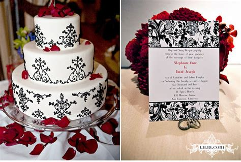 Black And White Wedding With Red Accents