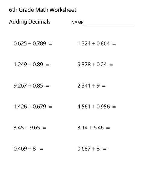 sixth grade math worksheets homeschooldressage