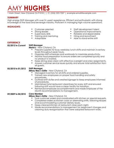 I Need A Resume Fast by Best Restaurant Shift Manager Resume Exle From