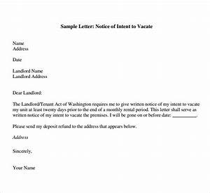 notice to vacate premises sample free 6 letter of intent to vacate templates in pdf ms word