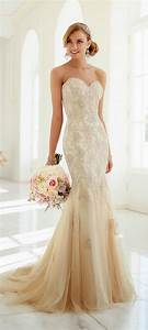 stella york 2015 strapless sweetheart mermaid beige lace With beige wedding dresses