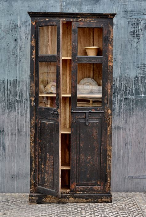 tall glazed vintage black cupboard home barn storage