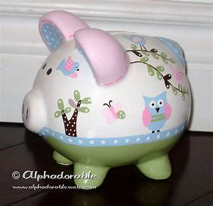 custom hand painted ceramic personalized piggy bank m2m With banks bed pottery barn