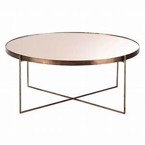 Table Basse Avec Miroir En Mtal Cuivr D 83 Cm COMTE