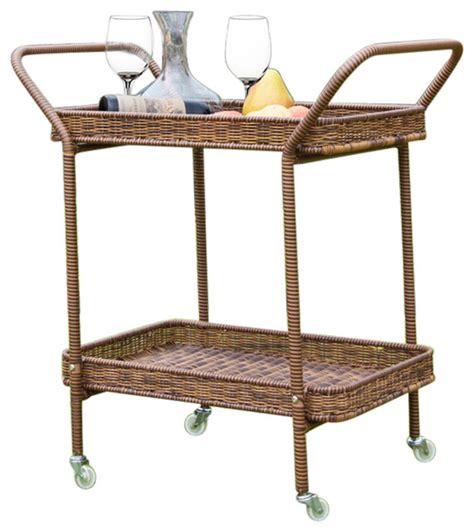 jeco inc wicker serving cart honey tropical bar carts