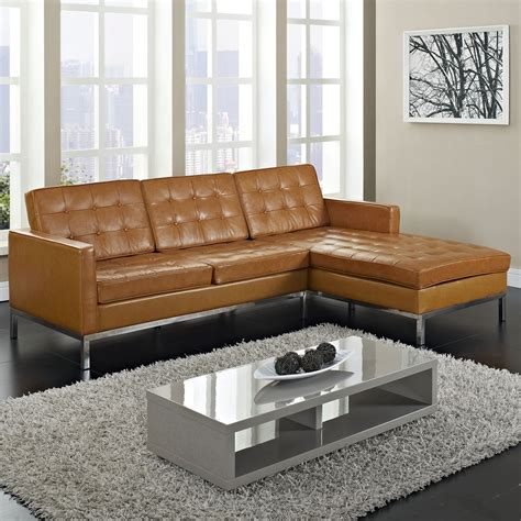 Breathtaking Tan Leather Tufted Sectional With Chaise