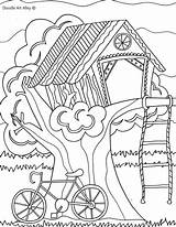 Coloring Pages Summer Treehouse Tree Doodle Colouring Trees Alley Sheets Fun Printable Adults Camping Sheet Landscape Birdhouses Adult Treehouses Houses sketch template