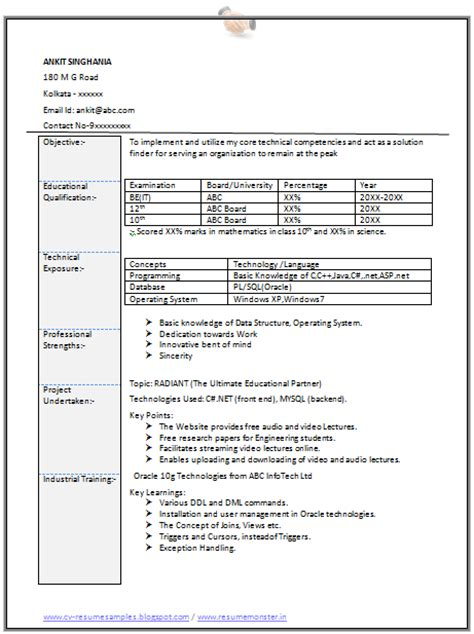 Resume Format Information Technology by 10000 Cv And Resume Sles With Free