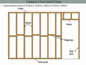 Timber Stud Partition  U2022 Cross Sectional Size Of Timber Is 100mm X 50mm  U0026 75mm X 50mm