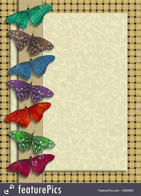 templates butterfly border rustic colors stock