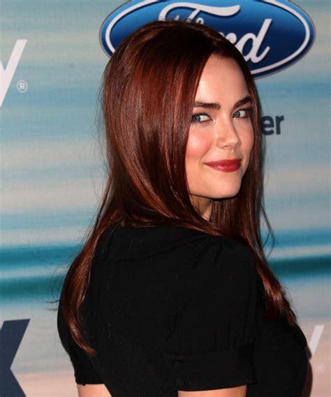 rebecca rittenhouse long straight dark red hairstyle