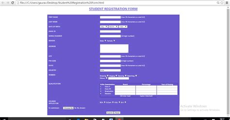 design a student registration form such that which include