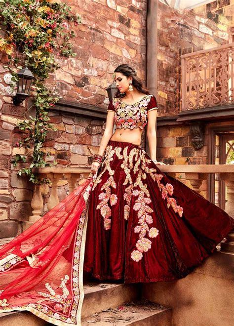 buy maroon color velvet wedding lehenga choli  uk usa