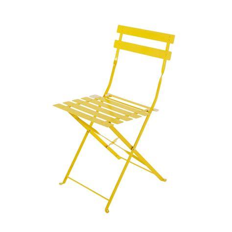 chaises de jardin pliantes 2 chaises pliantes de jardin en métal jaune confetti