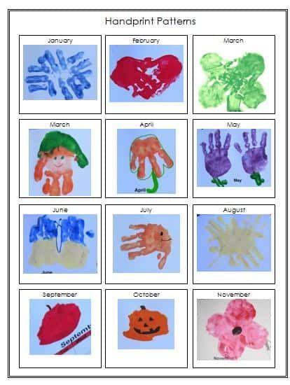handprint calendar template printable preschool keepsake calendar