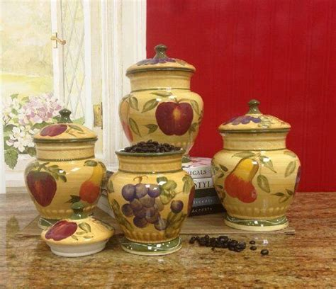 tuscan kitchen canister sets european style tuscan fruit grape kitchen 4 pc canister
