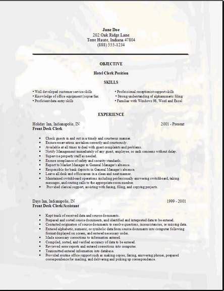 hotel clerk resume occupationalexamplessamples